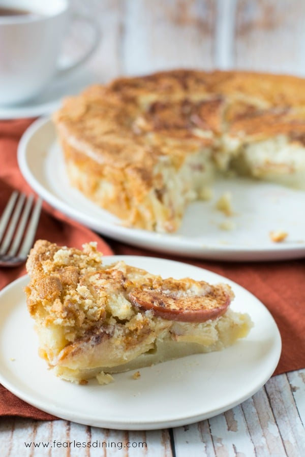 Gluten Free Apple Cake slice with the cake in the background.
