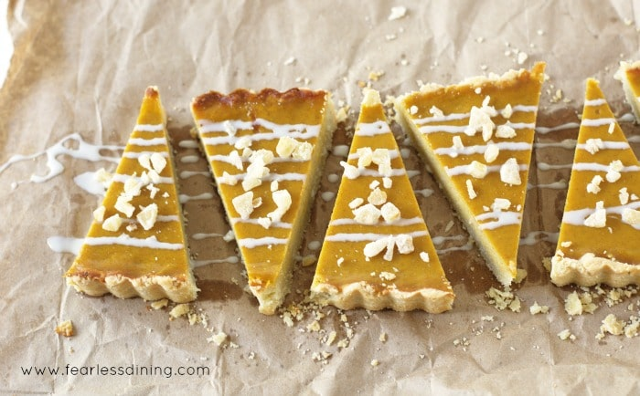 Top view of a sliced Gluten Free Butternut Squash Maple Ginger Tart