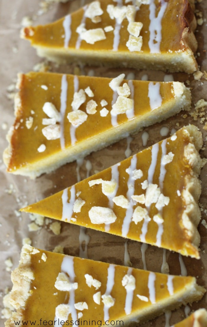 Gluten Free Butternut Squash Maple Ginger Tart slices ready to serve
