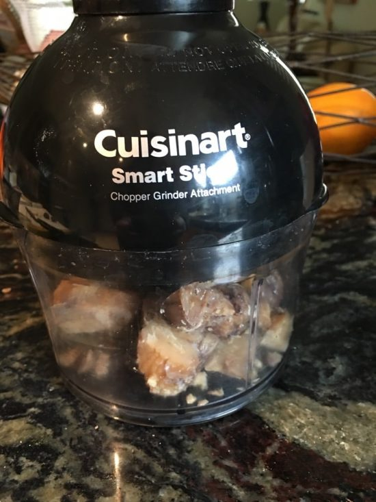 Cuisinart immersion blender grinding up the chestnuts