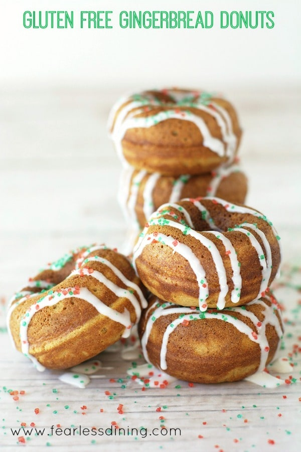 a stack of iced gluten free gingerbread donuts