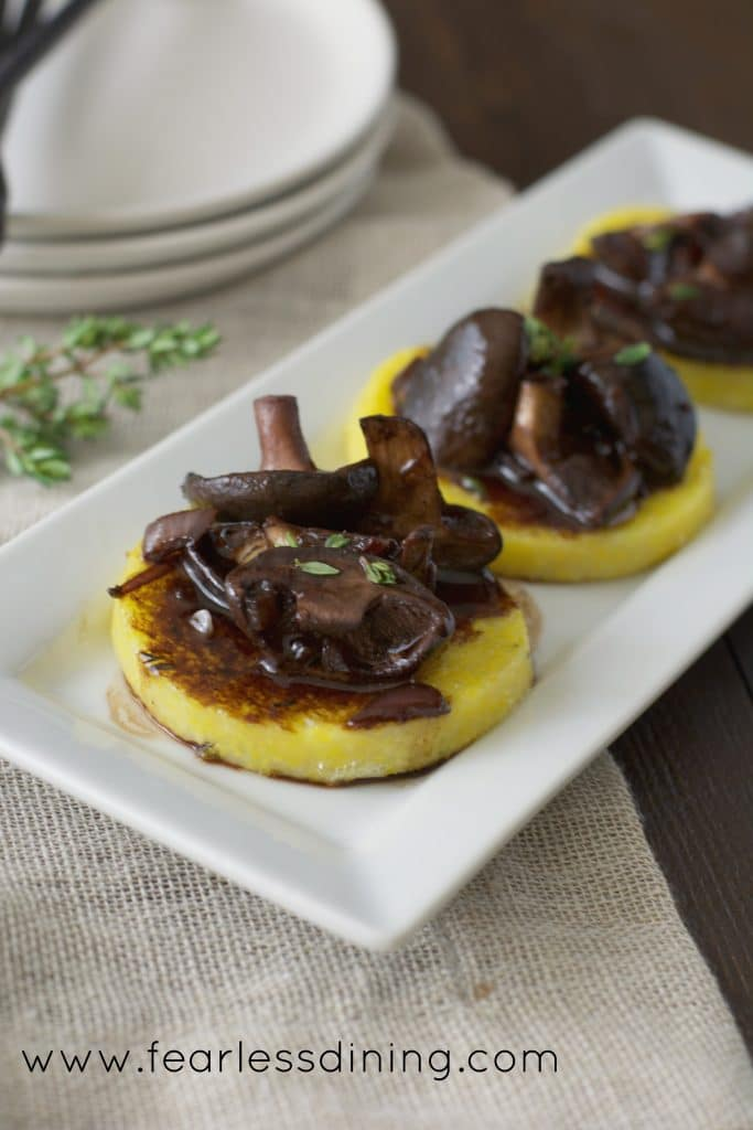 Shitake Mushrooms in a Red Wine Balsamic Glaze Over Polenta https://www.fearlessdining.com