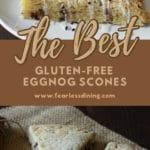 a pinterest collage of eggnog scones photos