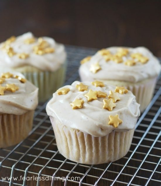 Gluten Free Eggnog Cupcakes in rows