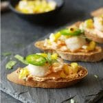 Shrimp Crostini with a Spicy Red Pepper Cream Cheese