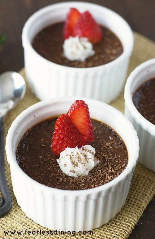 gluten free creamy Chocolate Custard dessert in white ramekins
