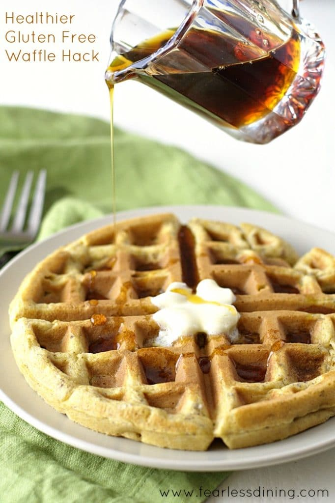Healthier Gluten Free Waffle Hacks found at https://www.fearlessdining.com