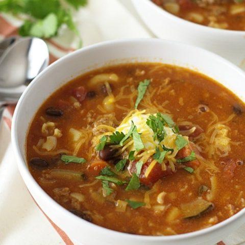Ground Pork Chili Macaroni Soup