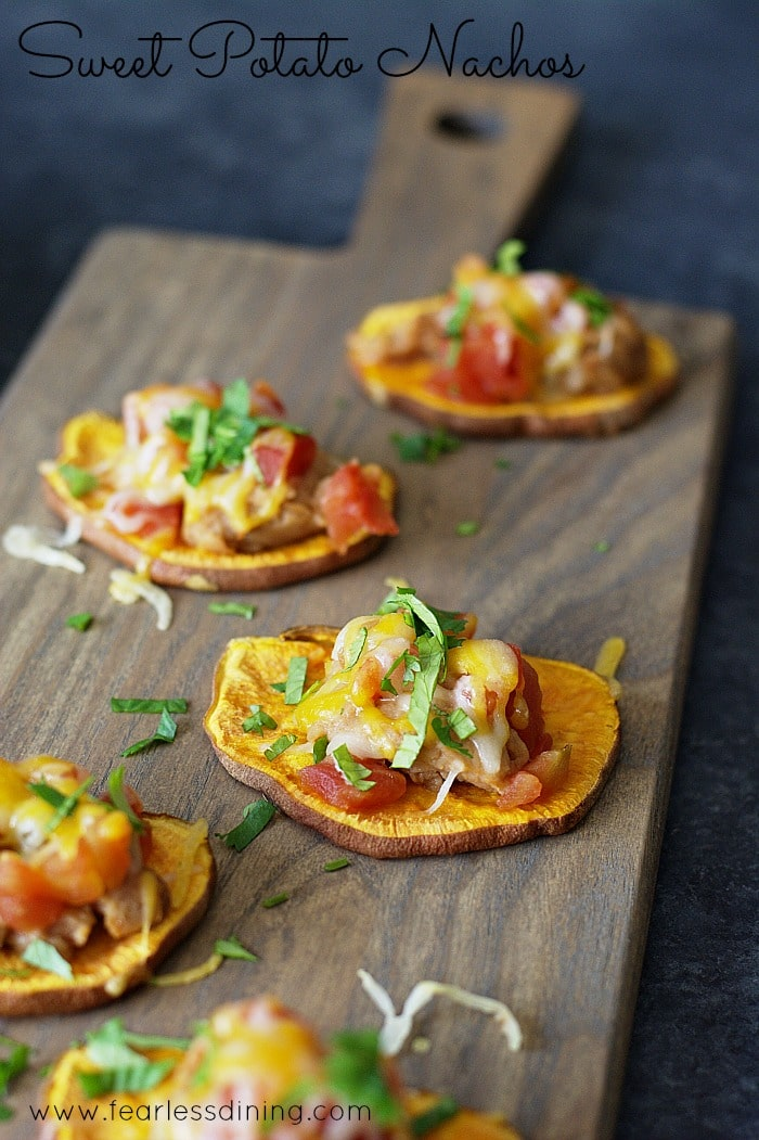 titled image - Sweet Potato Nachos on a wooden cutting board