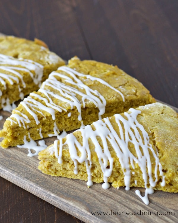 Gluten Free Sweet Potato Scones on a cutting board