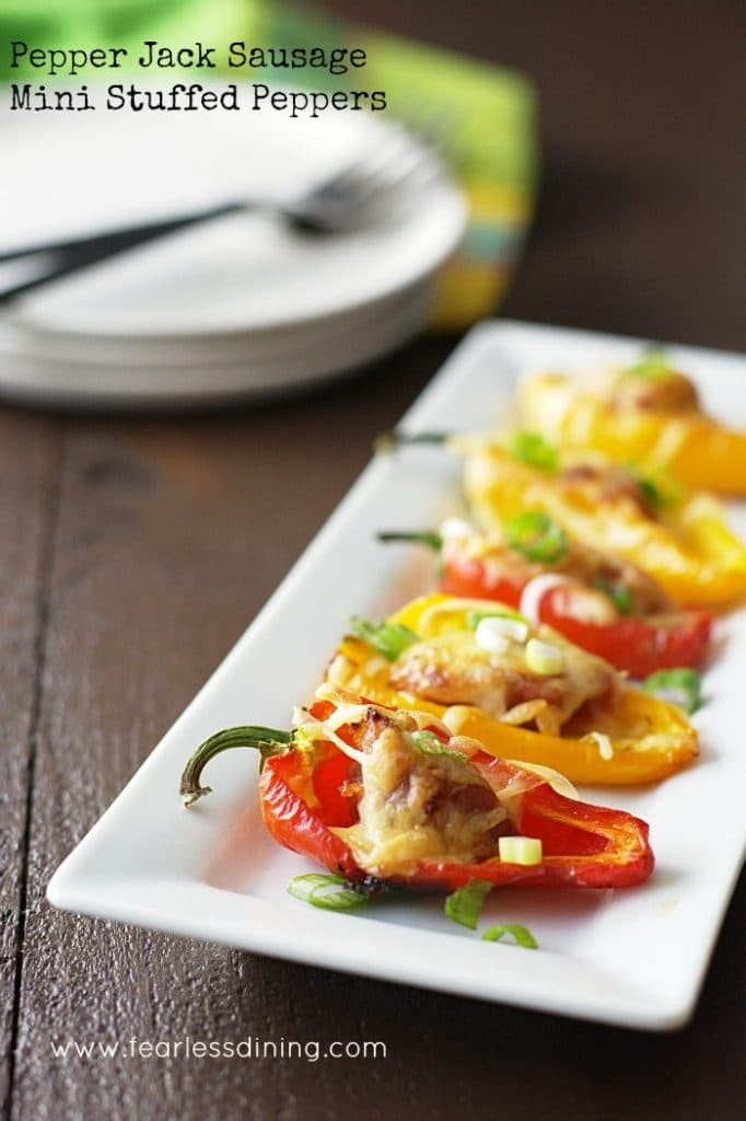 Easy Sausage Stuffed Mini Peppers on a plate
