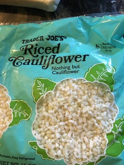 bag of Trader Joe's riced cauliflower