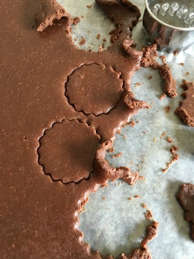 Gluten Free Chocolate Cream Cookie dough with circles cut out