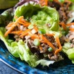 close up image of Asian lettuce wraps with pork