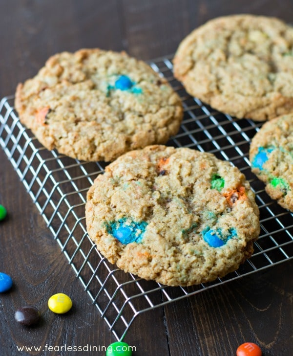 Gluten Free Monster M&M Cookies on a cooling rack.