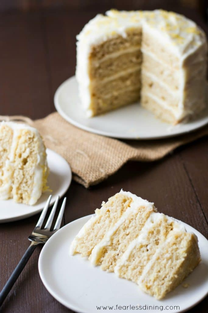 Slices of Gluten Free Lemon Layer Cake on plates.