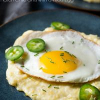 Cheesy Roasted Hatch Chile Grits with Fried Egg