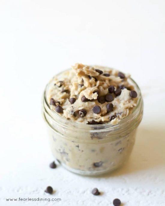 a jar of gluten free cookie dough