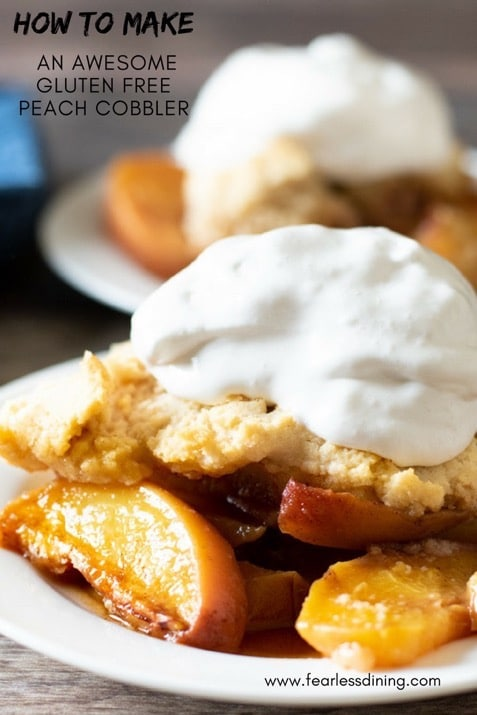 a pinnable image of gluten free peach cobbler on a plate