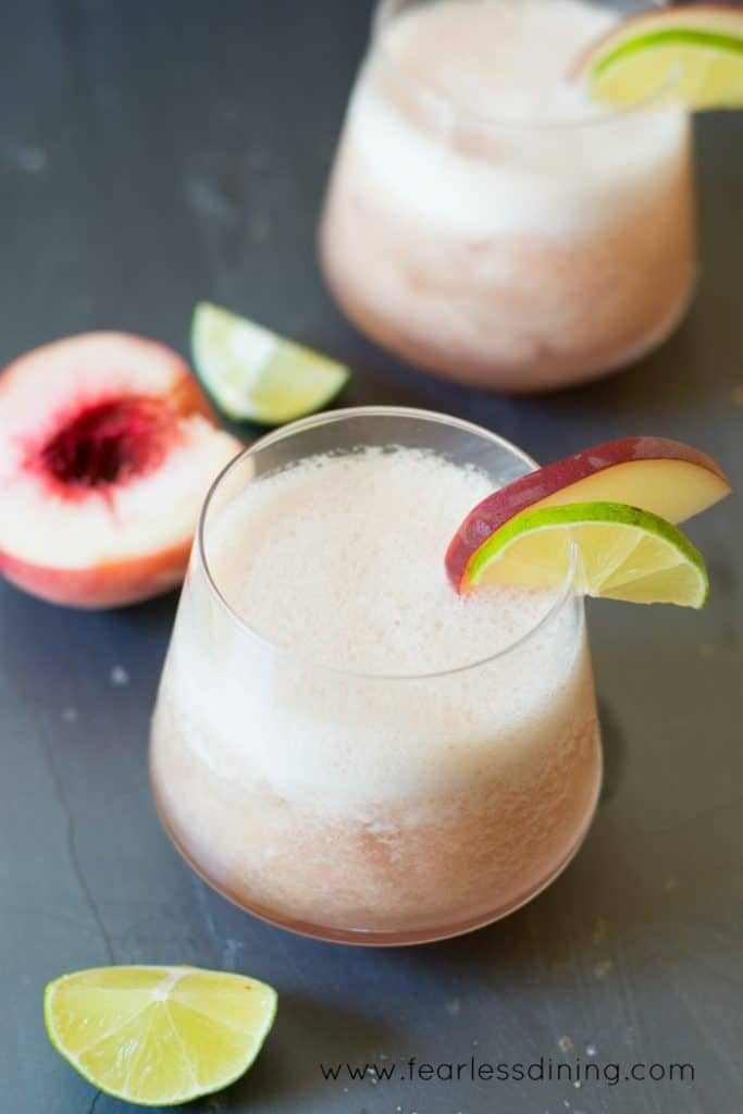 Two Bourbon Tropical Fresh White Peach Cocktails