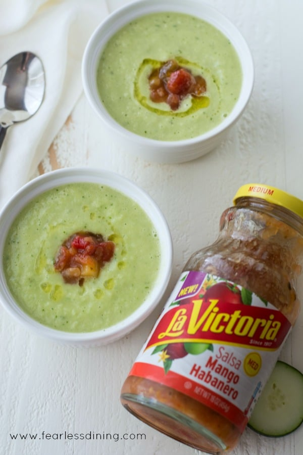 Cucumber Avocado Gazpacho with Mango Habanero Salsa is a quick and easy soup that can be made in under 5 minutes. Recipe at https://www.fearlessdining.com