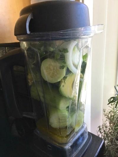 Cucumber Gazpacho ready to blend