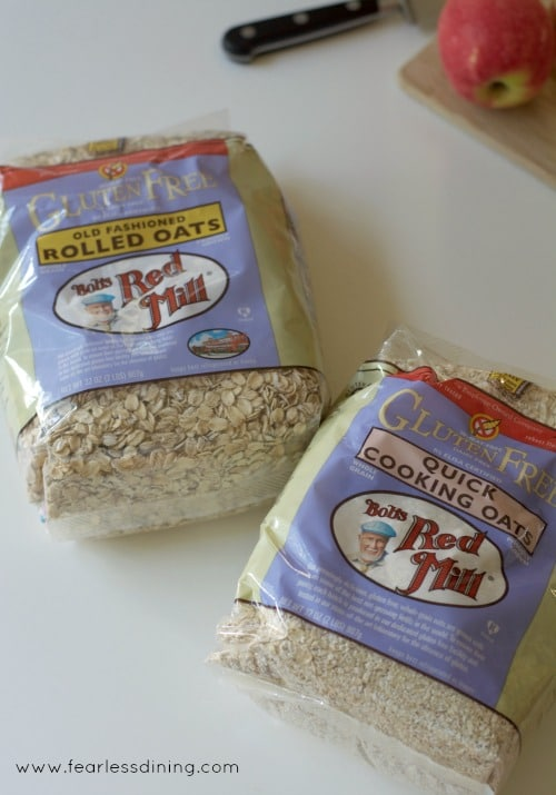 Bags of Bob's Red Mill gluten free rolled oats.