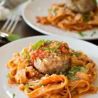 Gluten Free Meatballs stuffed with ricotta and zucchini