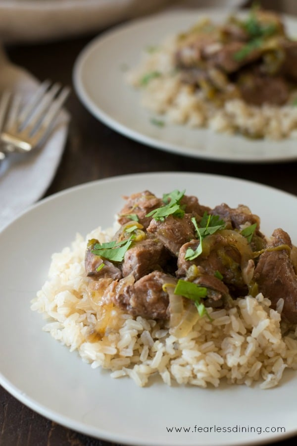 Slow cooker lamb and hatch chile stew over a bed of rice on a plate.