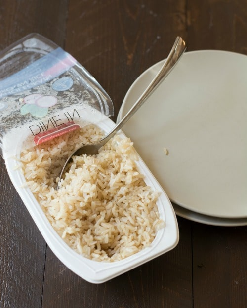 Veetee precooked rice in container