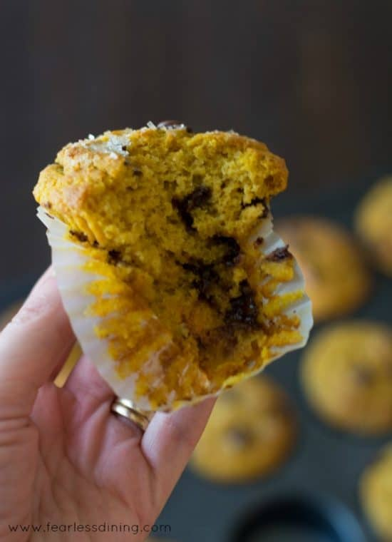 These Gluten Free Pumpkin Muffin with a bite taken out.