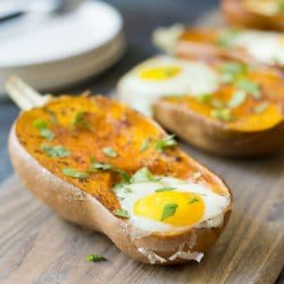 Paleo Baked Eggs Breakfast - eggs baked in honeynut squash