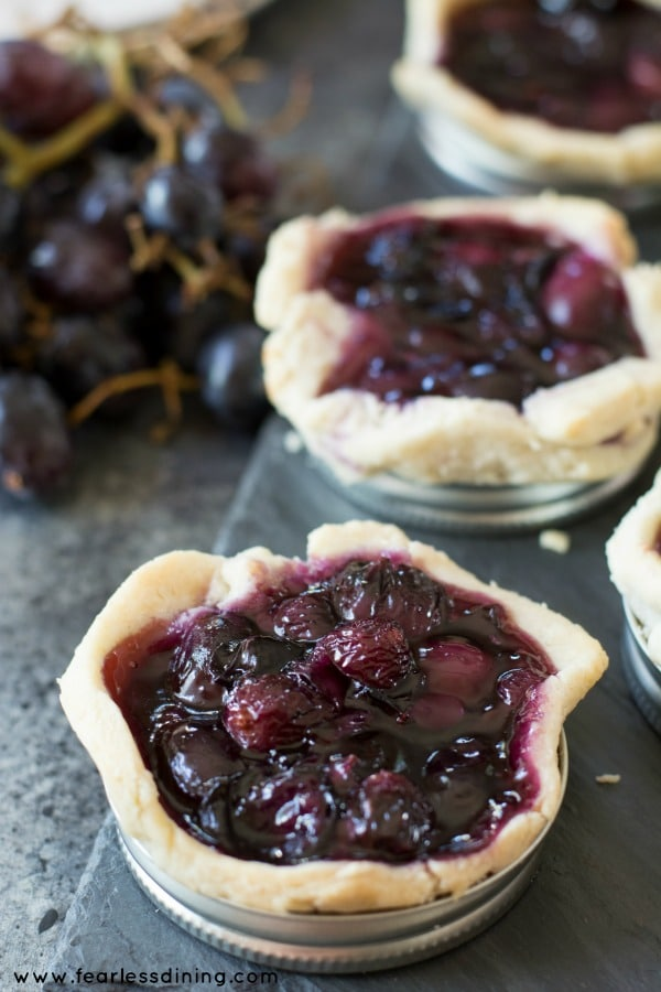 Gluten free black grape gelattes baked in mason jar lids