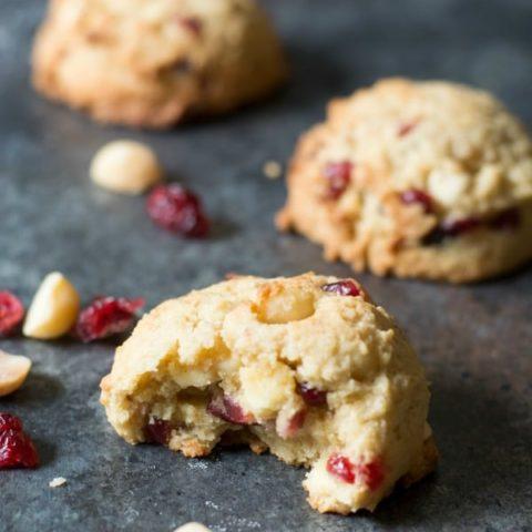 Gluten Free Cranberry Macadamia White Chocolate Chip Cookies