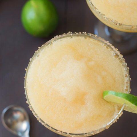 Frozen Peach Margaritas with Ginger Sugar Rim