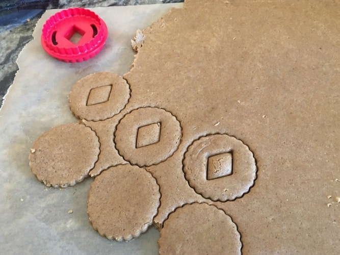 Linzer cookie cutters and cookie dough