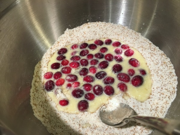 Mixing wet and dry ingredients with cranberries.