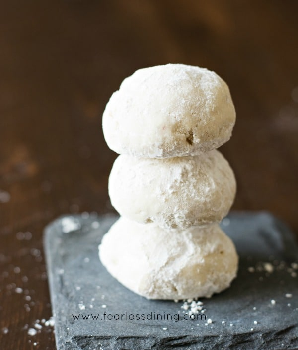 Gluten Free Russian Tea Cookies in a stack