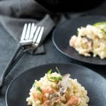 One Pan Shiitake Mushroom Smoked Salmon Risotto