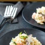 pinterest collage pin of the smoked salmon risotto