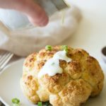 Easy Roasted Whole Cauliflower with Homemade Creamy Alfredo Sauce
