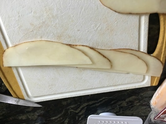 potato slices lined up