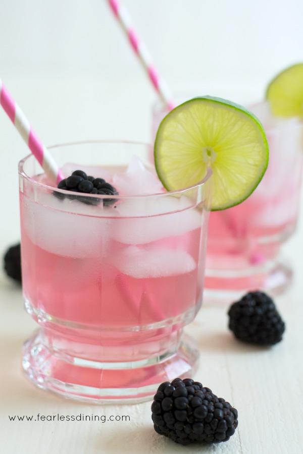 Luma Blood Orange Sodas in a glass with straws and blackberries