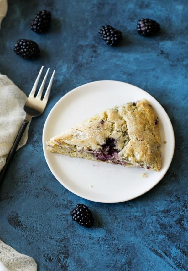 Gluten Free Blackberry Apple Scone on a plate
