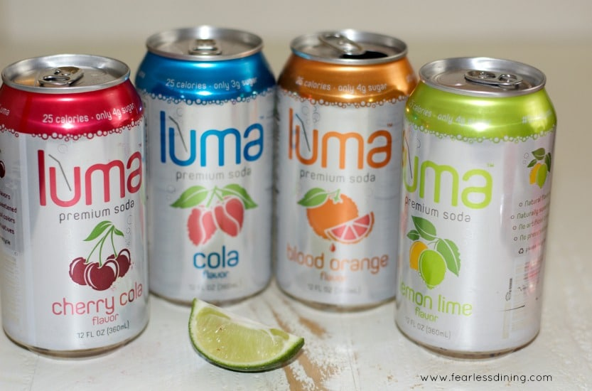Luma Premium Soda cans lined up
