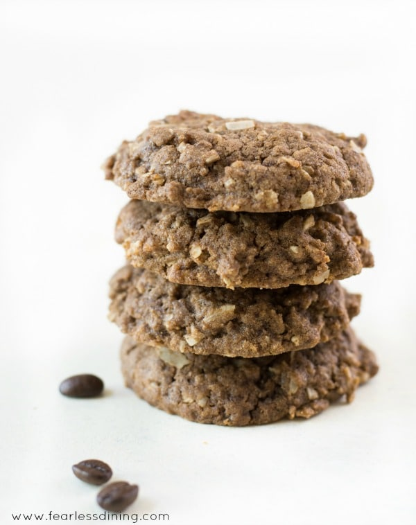Stack of gluten free coffee flour coconut cookies.