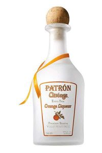 A bottle of Patron orange liquor