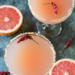 Top view of grapefruit margaritas