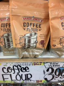 Bags of coffee flour on a store shelf