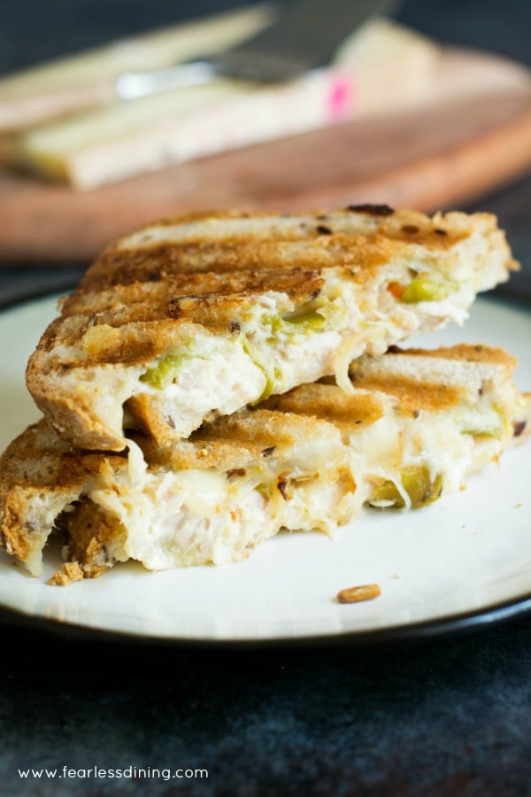 Easy grilled cheese tuna melt sandwich with grilled onion and hatch chiles.